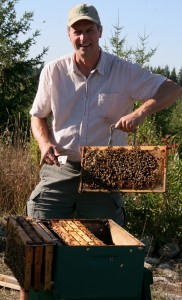 Thomas Mani inspecting a hive